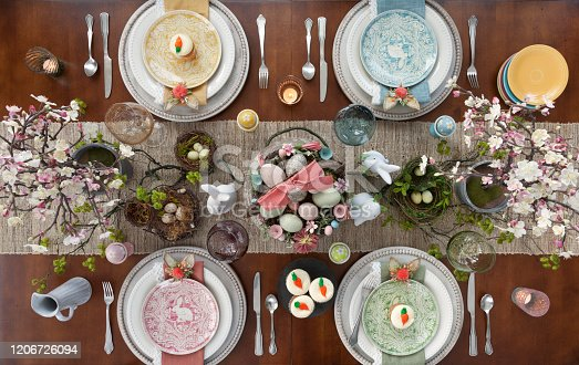 Easter dining aerial view, directly overhead.