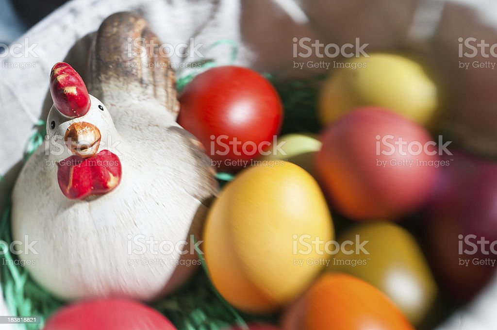 easter egg and hen royalty-free stock photo