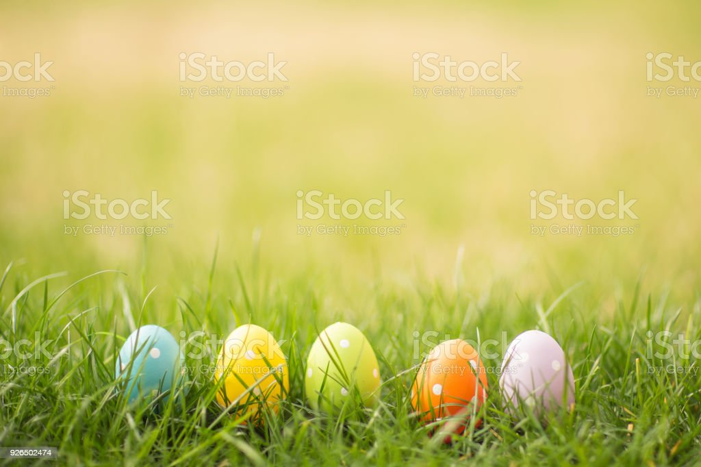 Easter egg background with copy space. stock photo