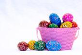 Easter egg basket close-up