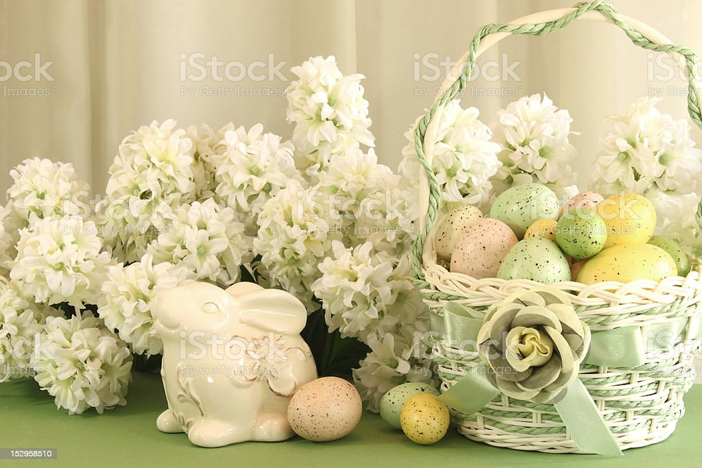 Easter Egg Basket with Bunny stock photo