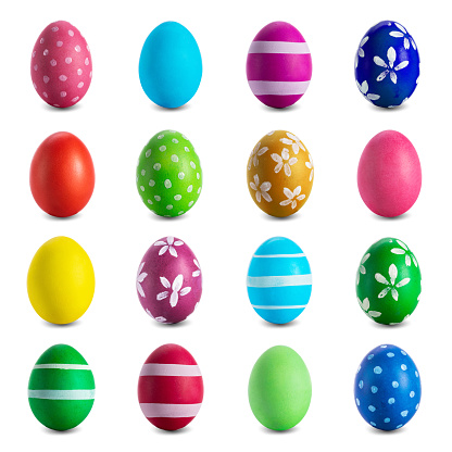 Easter egg collection isolated on white background