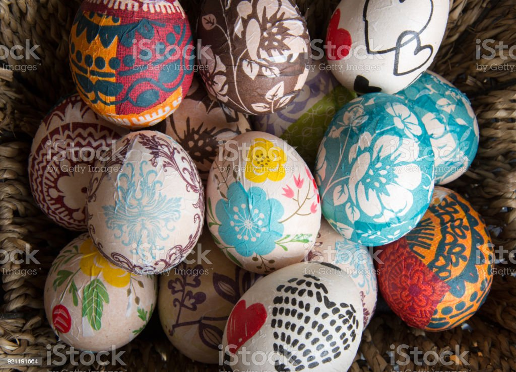 Easter Egg Decorated With Technique Of Decoupage The Concept Of A