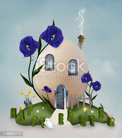 Easter background with an egg house in a green meadow - 3D illustration