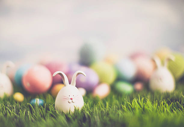 easter egg hunt with bunnies and decorated eggs - easter bunny stock photos and pictures
