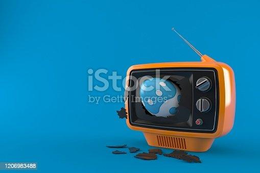 Easter egg inside tv isolated on blue background. 3d illustration