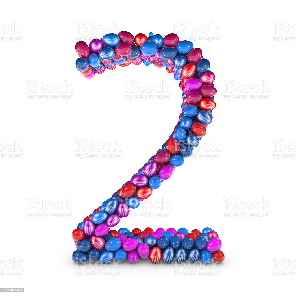 Easter Egg Number, Digit 2 royalty-free stock photo