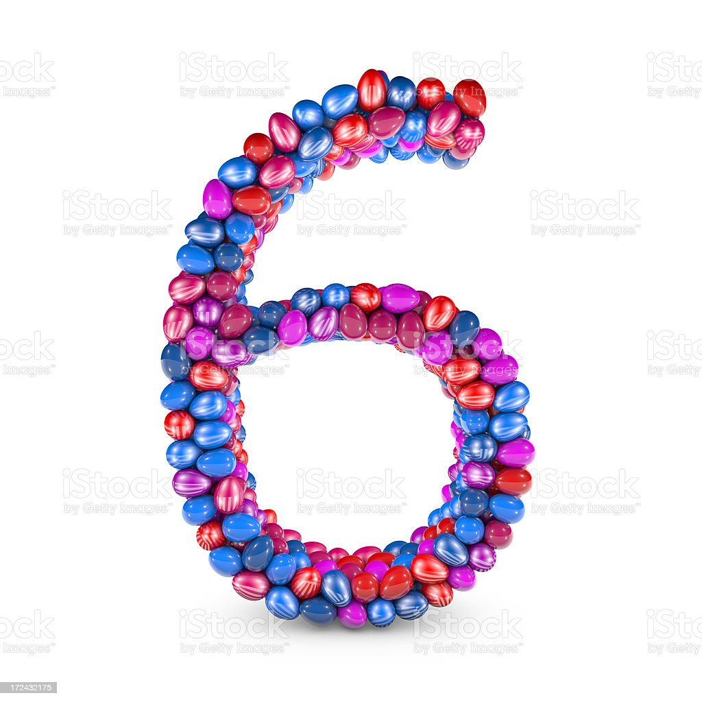 Easter Egg Number, Digit 6 royalty-free stock photo