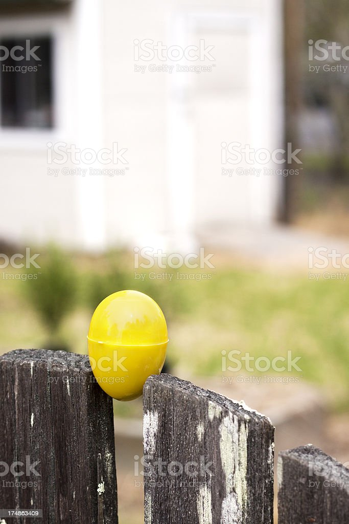 Easter Egg on a Fence stock photo