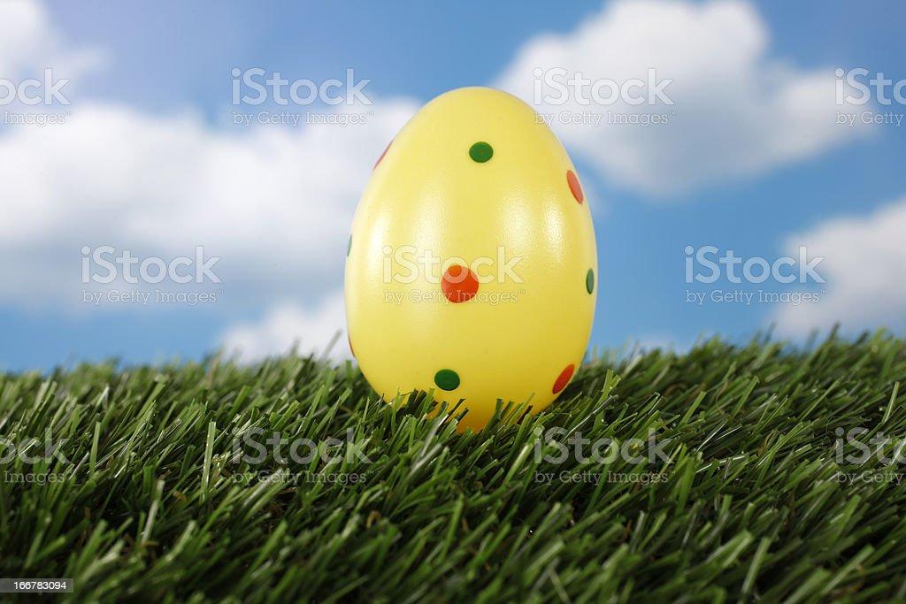 Easter egg on grass field stock photo