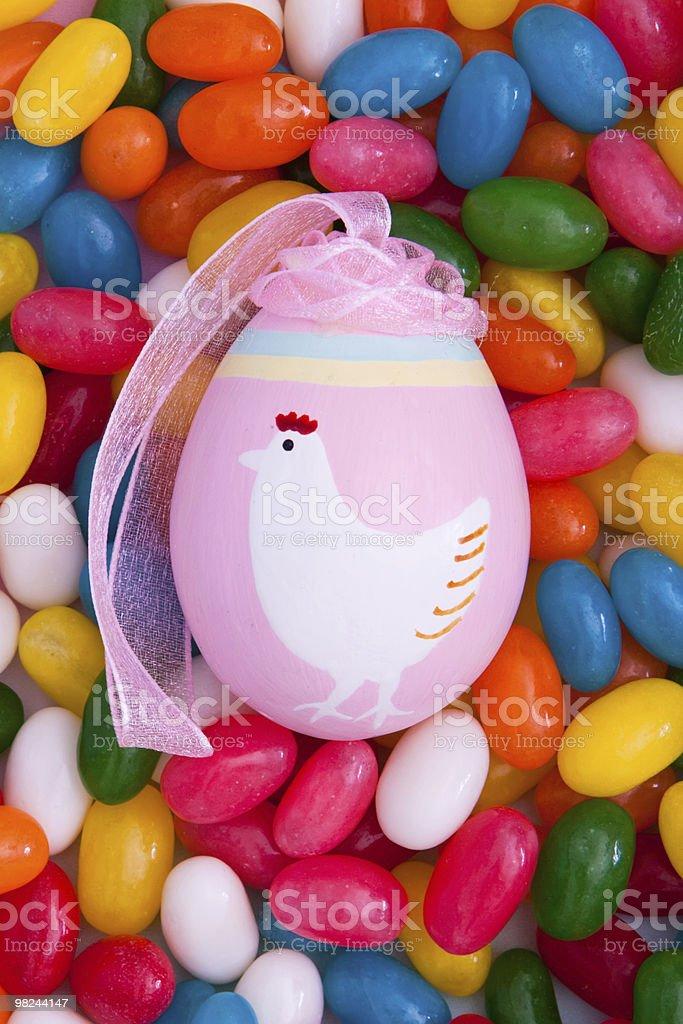 Easter egg on jellybeans royalty-free stock photo