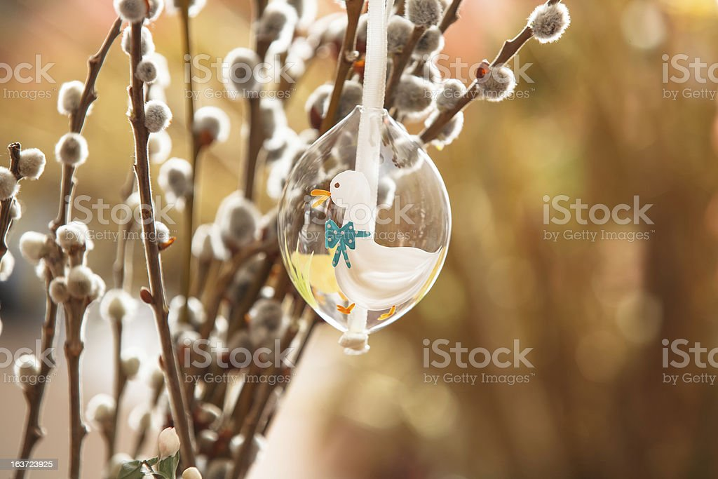 Easter Egg on Pussy Willow royalty-free stock photo