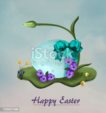 Happy Easter greeting card with an egg and a tulip flower – 3D render