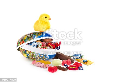 Goteborg, Sweden - January 4, 2014: Easter eggs with assorted candies that are available for purchase including Sweden. This is a common way to give candy to someone during Easter time.