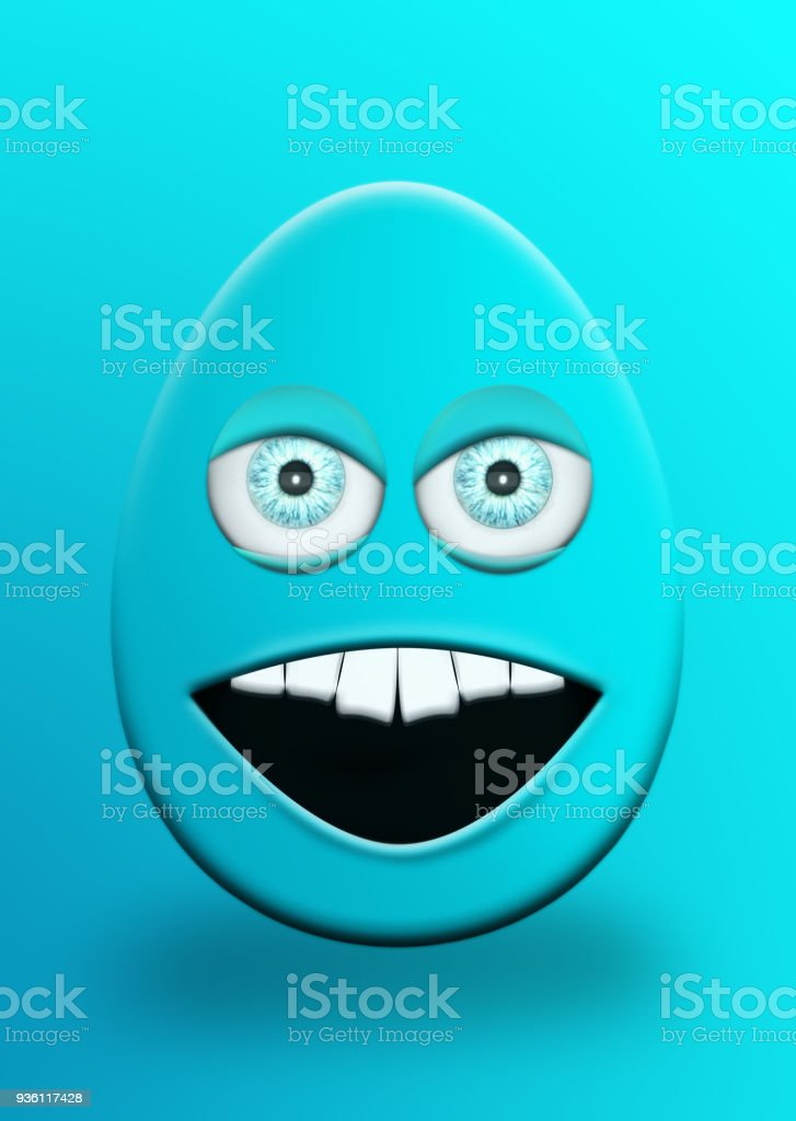 Easter Egg With Eyes and Mouth Feeling Angry 3D Illustration stock photo
