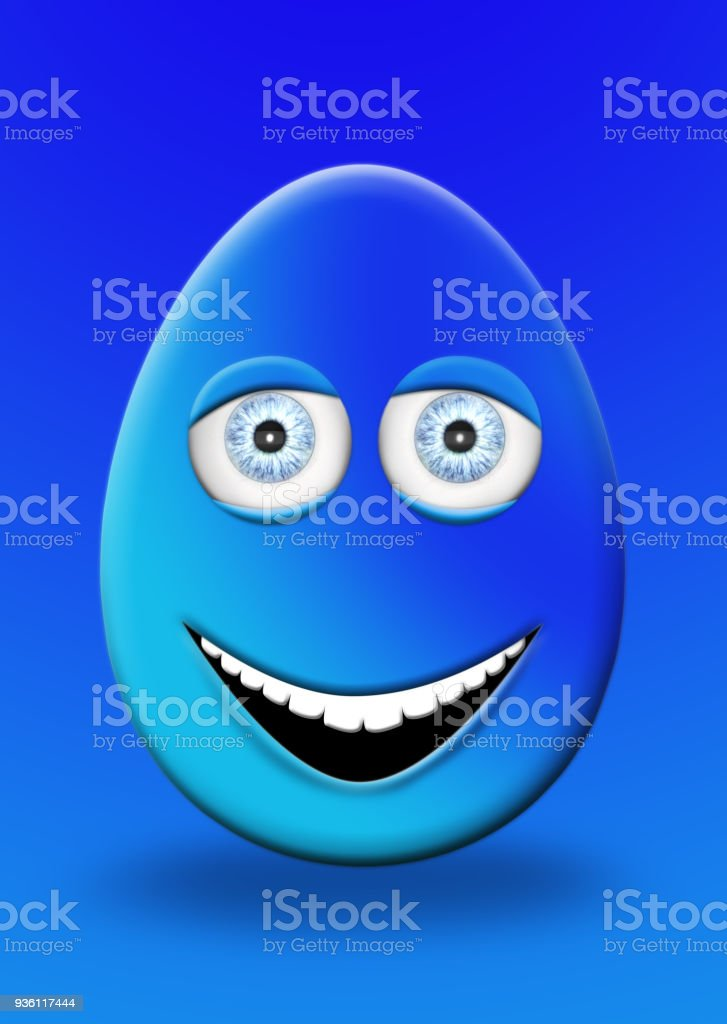 Easter Egg With Eyes and Mouth Feeling Happy and Cheerfull 3D Illustration stock photo