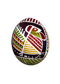 Easter egg with ornament, isolated on white background