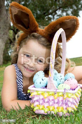 istock Easter Eggs and Basket. 482479667