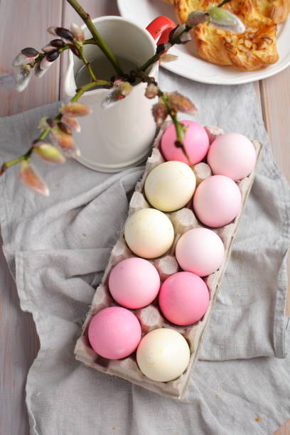 easter eggs and bunch of pussy willow branches - fastelavn stock pictures, royalty-free photos & images
