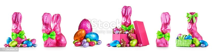 istock Easter eggs and bunnies set 1129086626