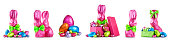Chocolate easter eggs, rabbit with bow wrapped in pink foil, bunnies and colorful candies collection isolated on white background. Design elements banner, holiday and springtime theme