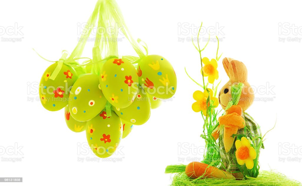 Easter eggs and bunny royalty-free stock photo