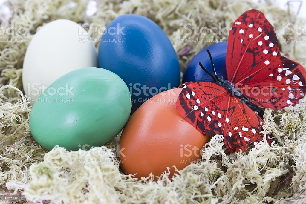 Easter eggs and butterfly royalty-free stock photo