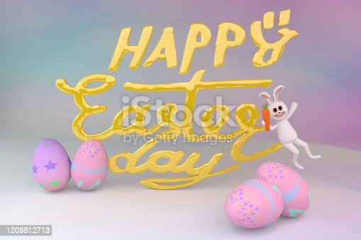 istock Easter eggs and cute bunny in Festive decoration. Happy Easter 1209812713