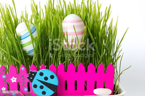 930928526 istock photo Easter eggs and green wheat plant 664075120
