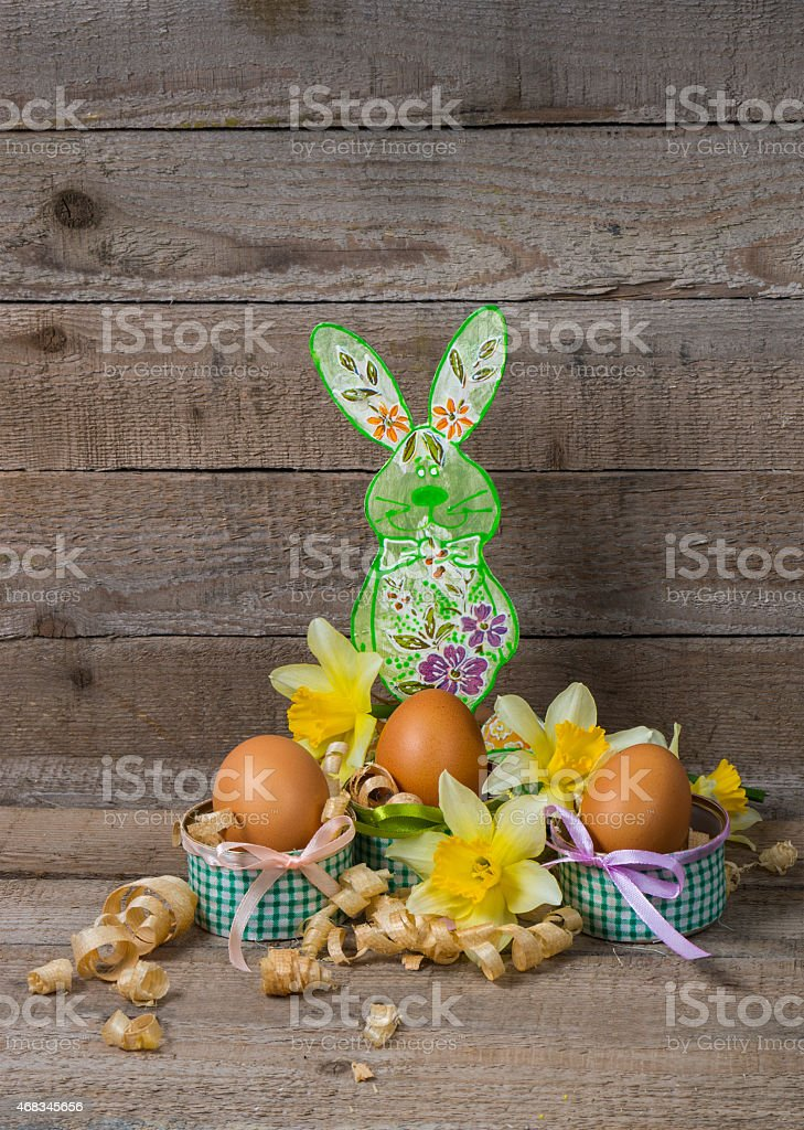 Easter eggs and the Easter bunny with flowers of narcissus royalty-free stock photo