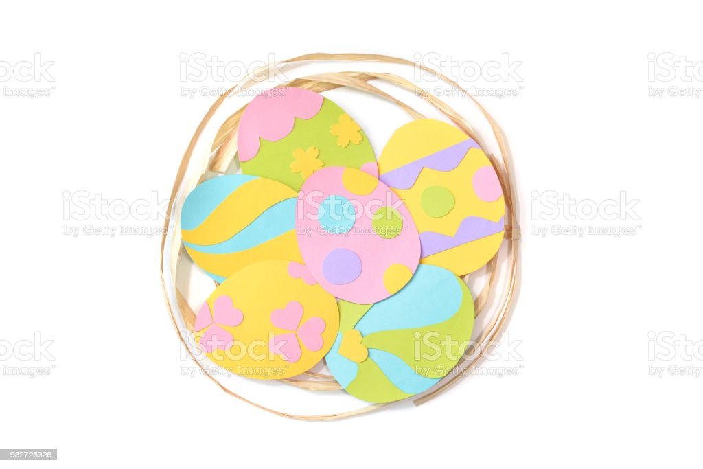 easter eggs card paper cut on white background stock photo more