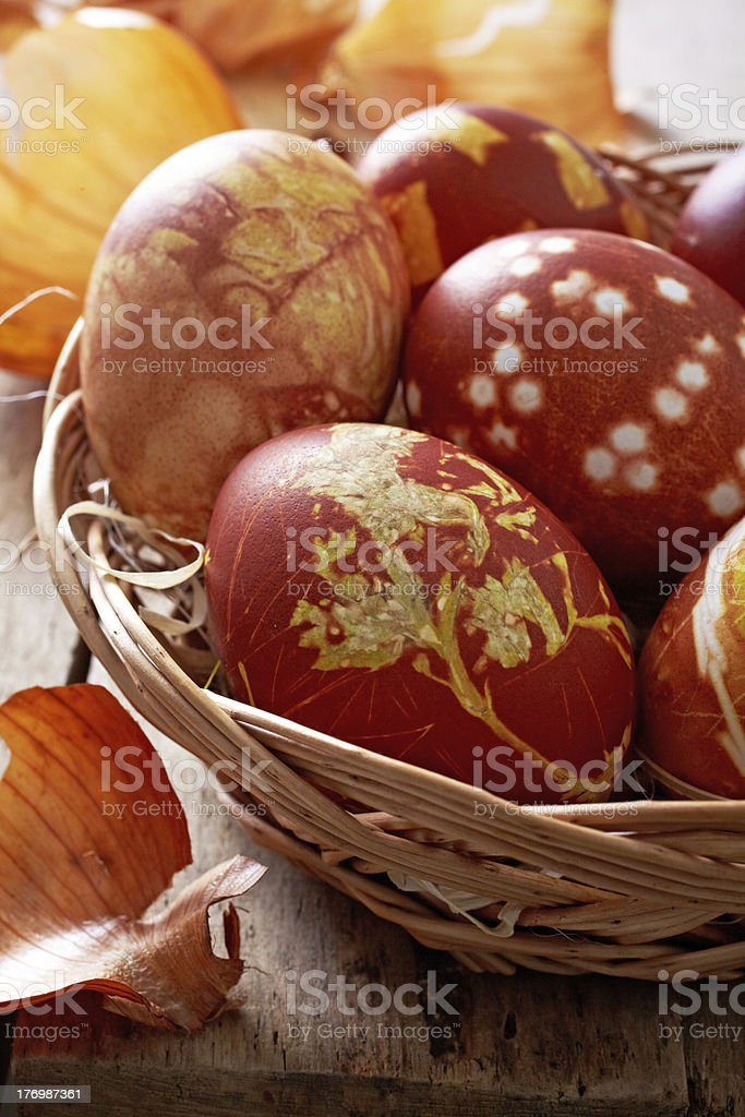 easter eggs colored with onion skin royalty-free stock photo