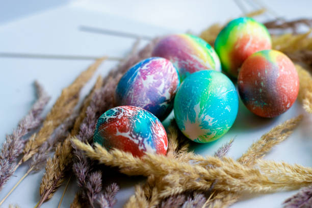 Easter eggs colorful background. Watercolor Easter eggs. stock photo