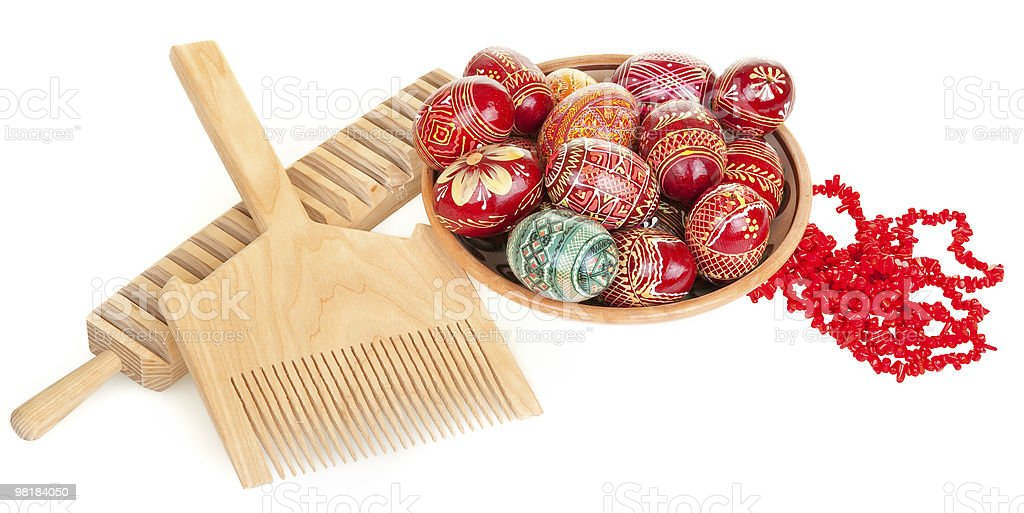 easter eggs, coral necklace, rubel' and comb royalty-free stock photo