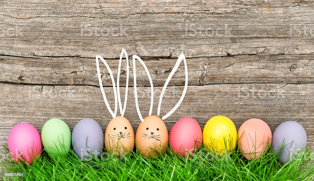 Easter eggs cute bunny Funny decoration Happy Easter stock photo