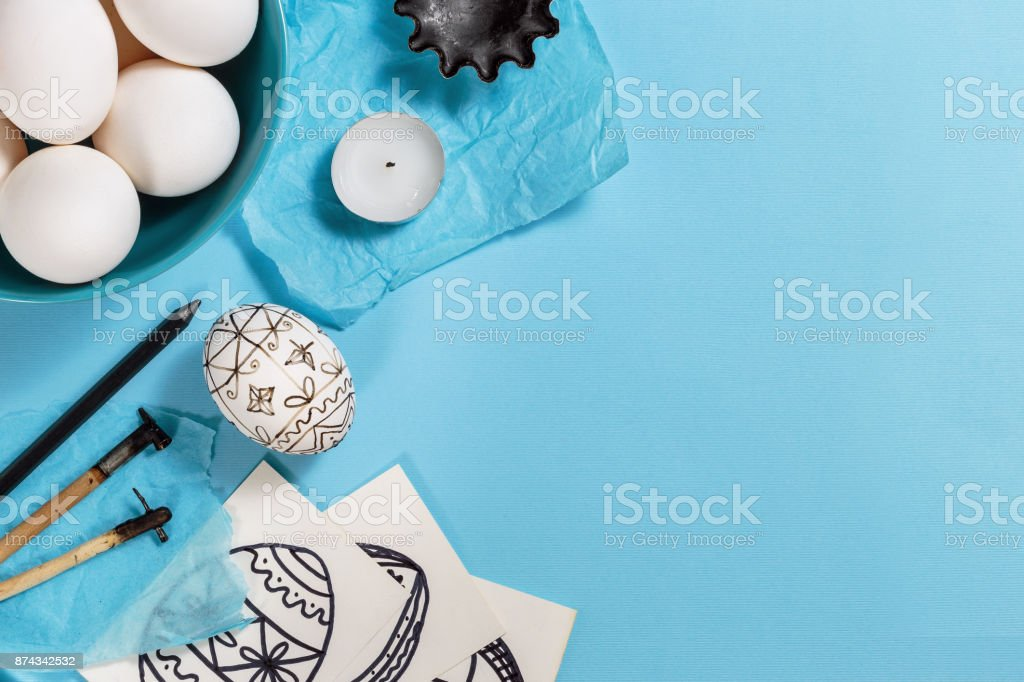 Easter eggs decorated with beeswax dyeing technique stock photo