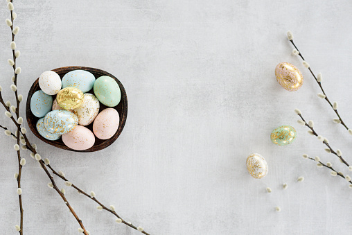 Easter eggs flat lay