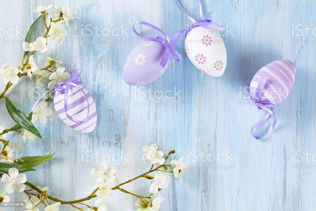 Easter eggs frame. stock photo
