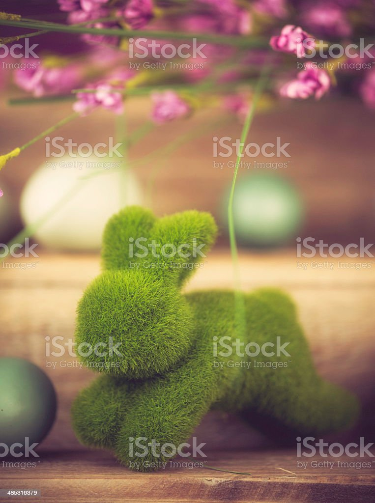 Easter Eggs, Grass Rabbit and Cherry Blossom royalty-free stock photo