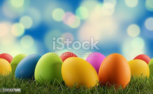 istock Easter eggs green grass 3d-illustration 1141417688