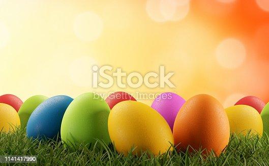 istock Easter eggs green grass 3d-illustration 1141417990