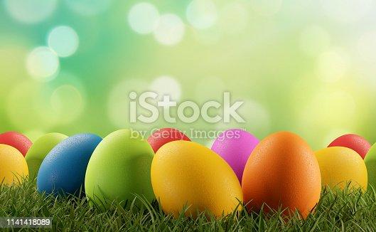 istock Easter eggs green grass 3d-illustration 1141418089