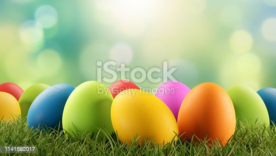 istock Easter eggs green grass 3d-illustration 1141562017
