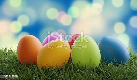 istock Easter eggs green grass creative spots design background 3d-illustration 1162343848