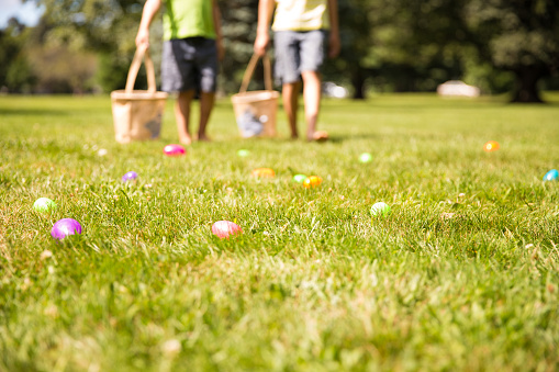 the concept of family fun at Easter.  blurred background. Cope space for your text
