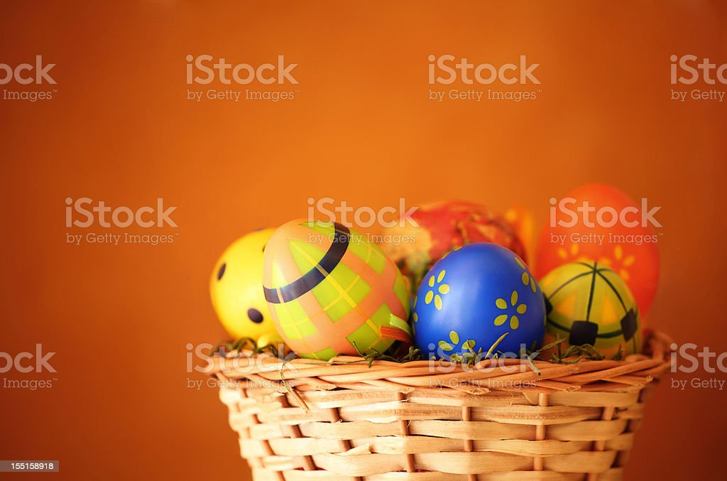 Easter eggs in a basket. - Royalty-free April Stock Photo
