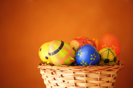 Easter Eggs In A Basket Stock Photo - Download Image Now