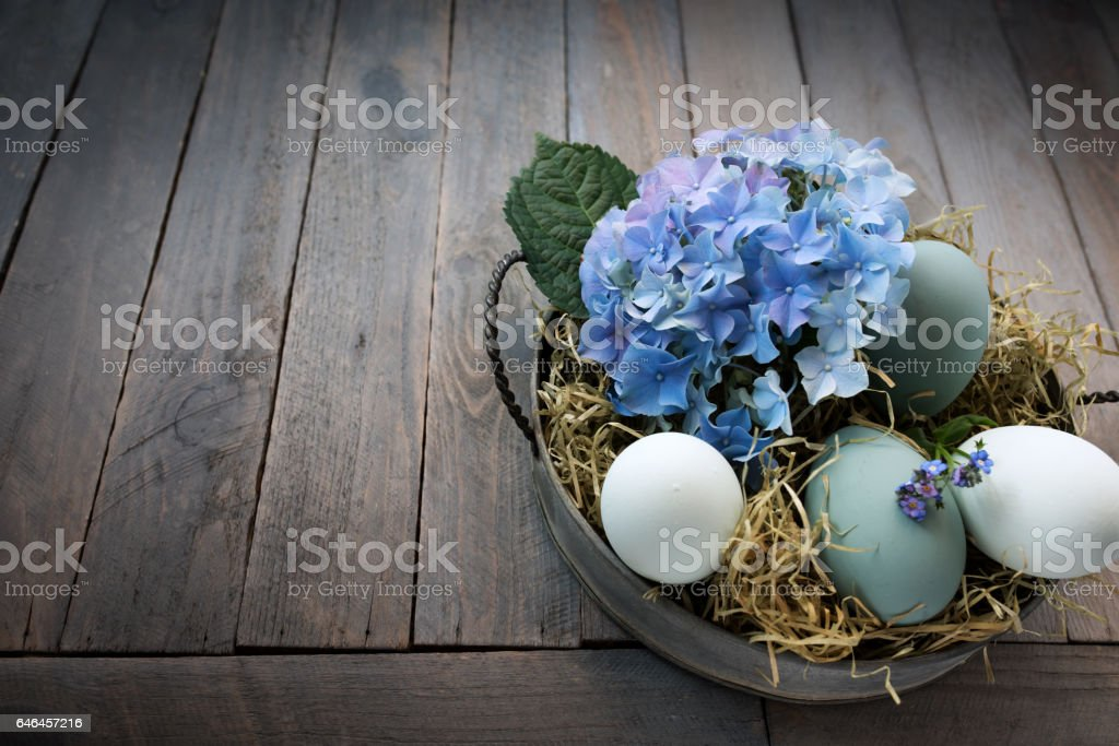 Easter eggs in a bowl with straw and blue hydrangeas stock photo