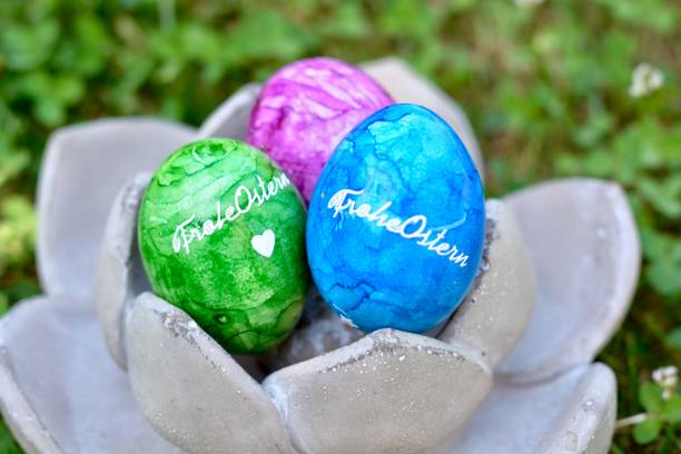 Easter Eggs in a Concrete Flower stock photo