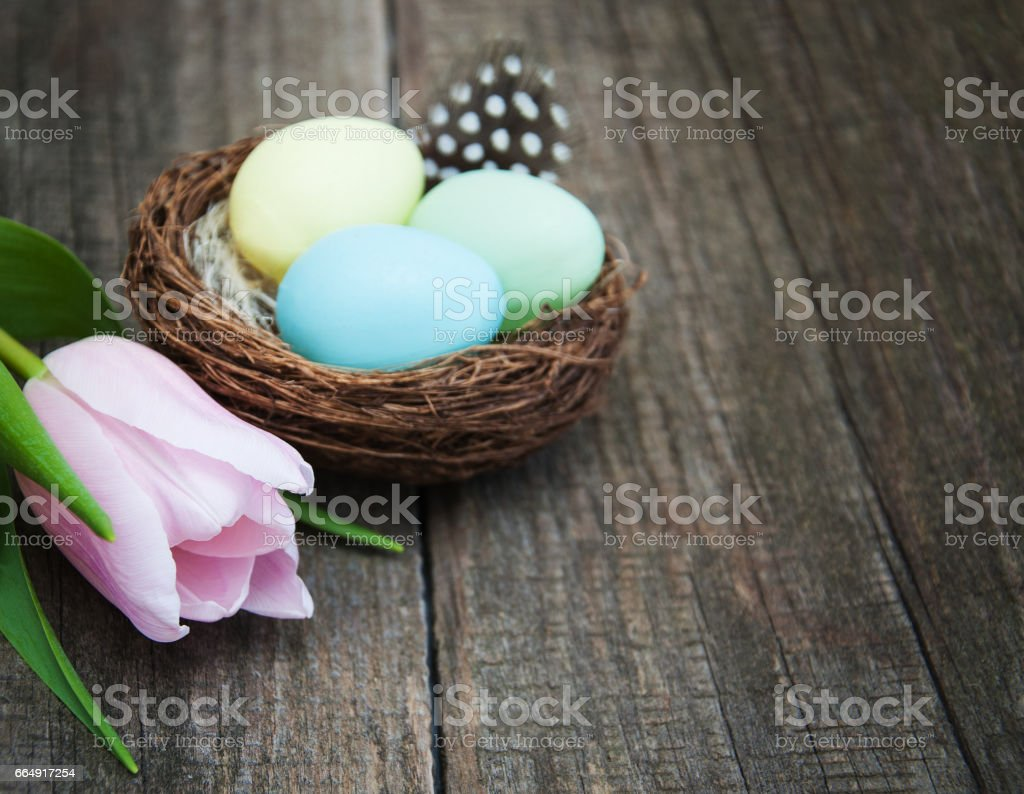 Easter eggs in a nest foto stock royalty-free